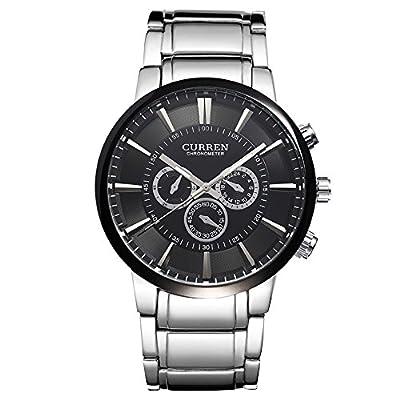 ALPS Men's Black Dial Analog Silver Stainless Steel Analog Quartz Wristwatch
