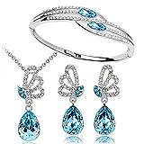 Cyan Butterfly style jewelry set combo with elegant bracelet