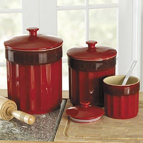 CHEFS Stoneware Kitchen Canister Set, 3 pieces: Red (Chefs Stoneware Canisters compare prices)