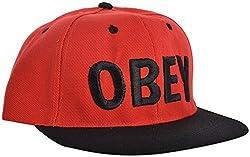 Masti Station Men's OBEY Hip Hop Hat (Red/Black)