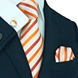 Landisun 95C Bright Orange Stripes Mens Silk Tie Set: Tie+Hanky+Cufflinks