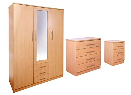 Las Vegas Superior Exclusive Quality Beech 3 Piece Large Bedroom Set | Bedside Cabinet | Chest of 4 Drawers | 3 Door Wardrobe |