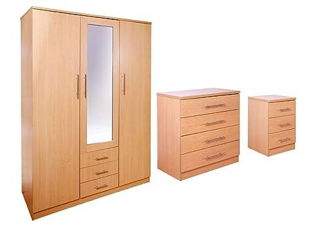 Las Vegas Superior Exclusive Quality Beech 3 Piece Large Bedroom Set | Bedside Cabinet | Chest of 4 Drawers | 3 Door Wardrobe |