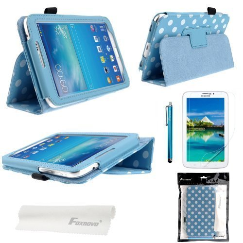 Foxnovo® Polka Dot Hot Flip PU Leather Case Cover for Samsung Galaxy Tab 3 7.0 P3200 / P3210 / T210 / T211 & Stylus Pen & Screen Guard & Cleaning Cloth (Sky-blue)