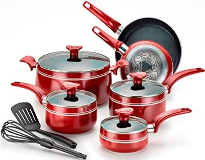 T-fal C924SC Matisse Nonstick Thermo-Spot Dishwasher Safe PFOA Free Oven Safe Cookware Set, 12-Piece, Red