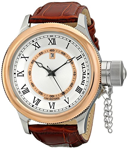 Invicta Men'S 14079 Russian Diver Silver Dial Brown Leather Watch