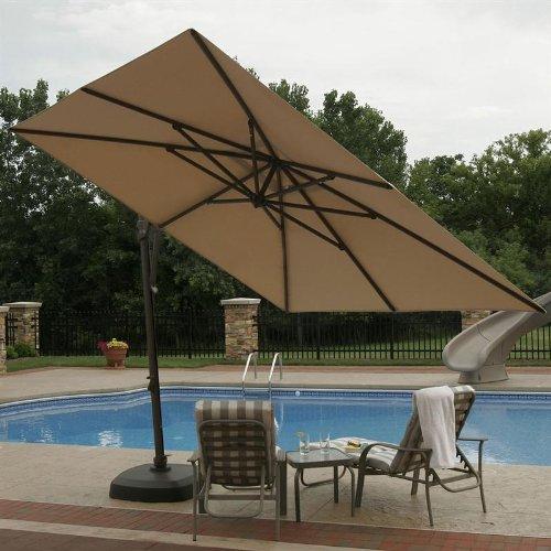 10 Cantilever Umbrella With Drape Fabric Olefin Champagne Linen Patio