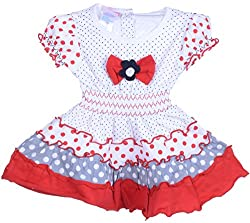 Amy Girls' Dress (F62_1_6 Months-1 Year, Red, 6 Months-1 Year) - Special Offer with Free Shipping - 100% Cotton Exclusive Kidswear