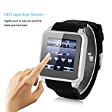 Excelvan® High Quality Bluetooth V3.0 Smart Watch Unlocked 2G SIM Phone Watch Sync Call Music Reminder Anti-lost phone mate Wrist Watch for iphone 5S,5C,Samsung Galaxy S5,Note 3,HTC One LG G3 +Other 3G 4G Android Smartphones (Black)