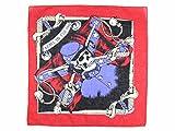 Bandana REBEL TO THE END rouge noir bleu blanc (ba-30a) de qualité supérieure 100% coton, environ 54 x 54 cm foulard zandana écharpe motif crâne et épées accessoire vêtement vacances d'été printemps, ballade en moto vélo bateau, festivales...