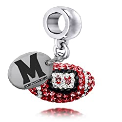 Maryland Terrapins Enameled Football Drop Charm. Solid Sterling Silver with Enamel