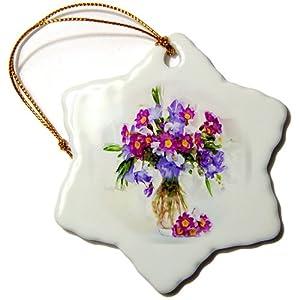 3dRose orn_41249_1 Bouquet of Flowers Snowflake Porcelain Ornament, 3-Inch