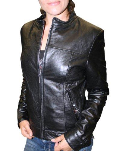 Dona Michi Women's Basic Short Zipper Genuine Soft Lamb Leather Jacket