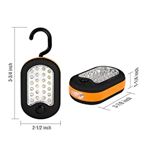 EverBrite 6-Pack Compact Work Light Magnetic 27-LED with Hanging Hook Batteries Included (Color: Black&orange)