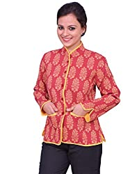 Chhipa Women Hand Printed Red Jacket(1014_Red_40)