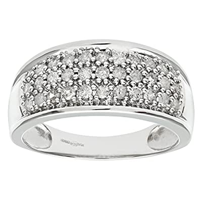 Ariel 9ct White Gold Half Carat Diamond Pave Set Multi Row Eternity Ring