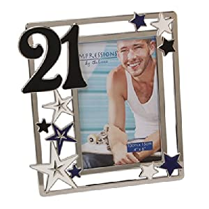 21st Birthday Impressions Silverplated Photo Frame with Stars - Blue en Bebe Hogar