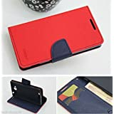 Mercury Wallet Style Flip Case Cover For Sony Xperia C C2305 S39H Flip Case Cover Stand- Red (Only For Sony Xperia...