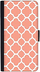 Snoogg Motif Print Pink Graphic Snap On Hard Back Leather + Pc Flip Cover Htc M7