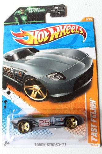 "Hot Wheels 2011 '' FAST FELION RACING CAR"" TRACK STARS '11 - 9 of 15 - 74/244 Grey & Black with #25 Racing Decal on Doors - 1"