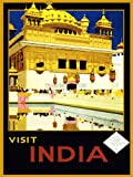 TRAVEL VISIT INDIA AMRITSAR GOLDEN TEMPLE PUNJAB USA VINTAGE POSTER PRINT 12x16 inch 30x40cm 1071PY