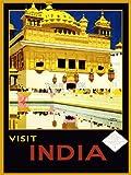 TRAVEL VISIT INDIA AMRITSAR GOLDEN TEMPLE PUNJAB USA VINTAGE POSTER PRINT 12x16 inch 30x40cm 1071PY
