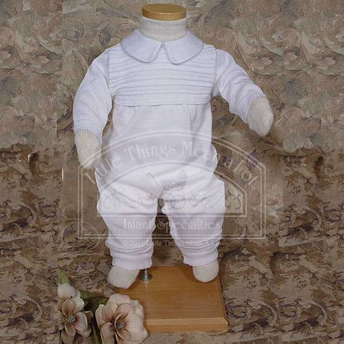 Baby Boys White Ribbed Knit Christening Baptism Outfit Suit 3-12M