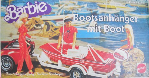 VINTAGE Barbie BOAT TRAILER & BOAT Playset - Bootsanhanger Mit Boot (1979 Mattel Germany)