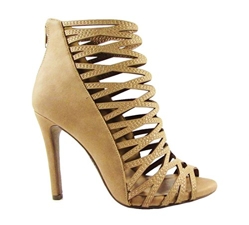 Delicious Women's Sandals Stiletto Cutouts Night Club Party Dress High Heels MVE Shoes, mve shoes zoomy tan size 9