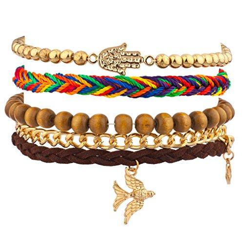 lux-accessories-dove-bird-hamsa-rainbow-woven-chain-link-arm-candy-bracelet-set