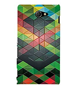 PrintVisa Geometrical Pattern 3D Hard Polycarbonate Designer Back Case Cover for Sony Xperia M2 Dual