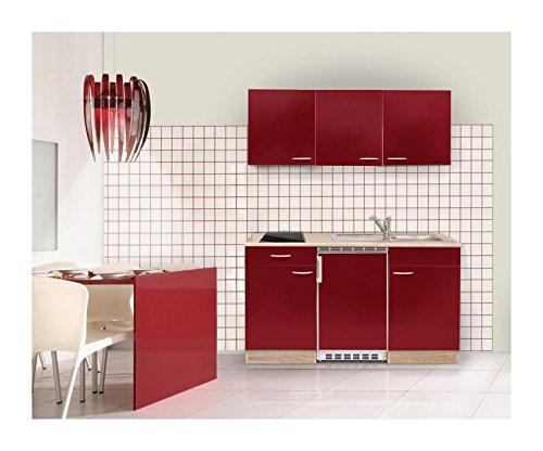 MEBAKB15RAC MiniKüche, Küchenblock, Singleküche in Akazie / Rot hochglanz 150 cm, inkl. Kühlschrank, Ceranfeld und Edelstahlspüle, erhältlich in 2 Farben (Akazie - rot)