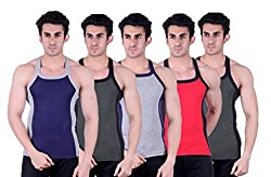 Zimfit Superb Gym Vests - Pack of 5 (BLU_GRN_GRY_RED_GRN_80)