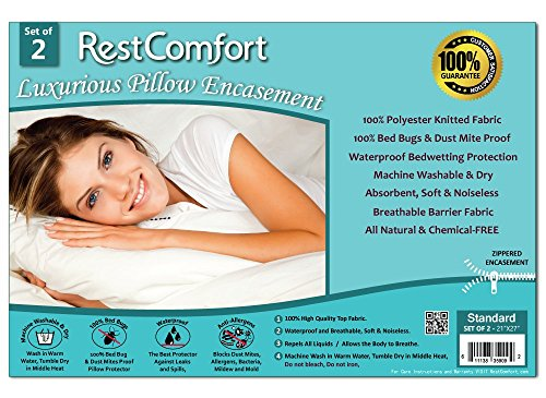 Big Save! Set of 2 Bed Bug and Dust Mite Bacteria, Allergy Proof / Waterproof Pillow Protectors - Hy...