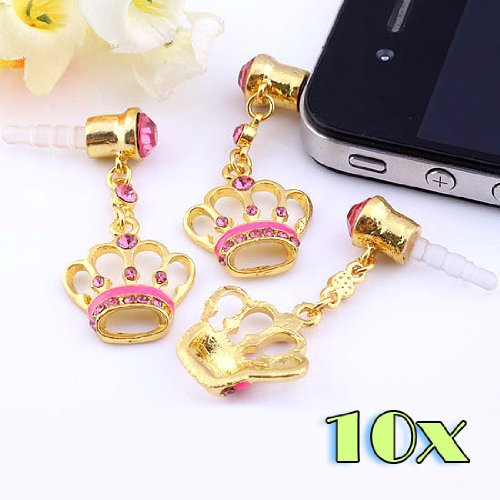 Top Plaza 1/5/10 Pcs 3.5Mm Dust Ear Cap Plug 3.5Mm Dust Stopper For Iphone 4/4S Ipod Htc Samsung (Rose Red 10Pcs)