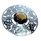 Plaid Brooch, Thistle Design, Cairngorm Stone, Pewter