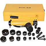 "Pneumatic 10 Ton Hydraulic Knockout Punch Hole Driver Kit Complete Tool Set w/ 6 Dies (1/2"", 3/4"", 1"", 1 1/4"", 1 1/2"", 2"")"