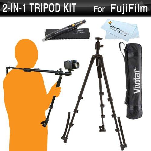 Vivitar 2-In-1 Tripod And Shoulder Stabilizer Kit For Fujifilm Finepix Hs50Exr, Hs35Exr, Hs30Exr, Hs25Exr, Hs20Exr, Sl1000, Sl300, S8200, S6800, S4800 S4500 S4200, X-Pro1, X-M1, X-A1, X-E2, S8600, S9200, S9400W, S1, X-T1, X30 Digital Camera + Lens Pen Kit front-272165