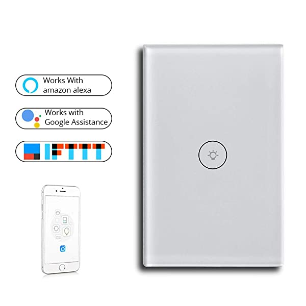 PCJHSP Smart Wall Touch Light Panel Switch, Wireless Voice Control APP Remote Control Timer Function Compatible with Amazon Alexa Google Assistant and IFTTT (1 Gang) (Color: 1 Gang)