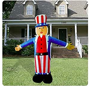 4th of july 6 39 airblown inflatable uncle sam for Amazon christmas lawn decorations