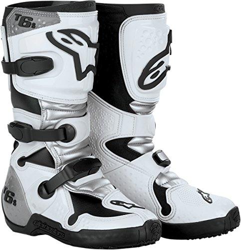 Alpinestars Tech 6S Youth Boys Off-Road Motorcycle Boots - White/Silver / Size 6