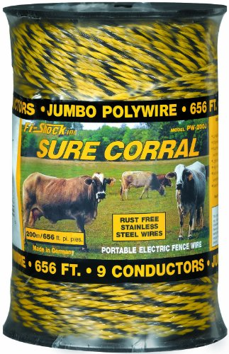 Fi-Shock Pw-200J Polywire, 9 Strands Of Electrical Conductors, 200 Meters/656 Feet Spool