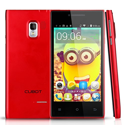 Cubot GT72+ 4,0 Zoll Android 4.4.2 KitKat 3G Smartphone Dual Core Handy ohne Vertrag Dual SIM 4G ROM WIFI 1.2GHz Dual Kameras Rot