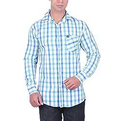 Cotblend Men's Casual Shirt (CB-CBN220-Blue-L, Blue, L)