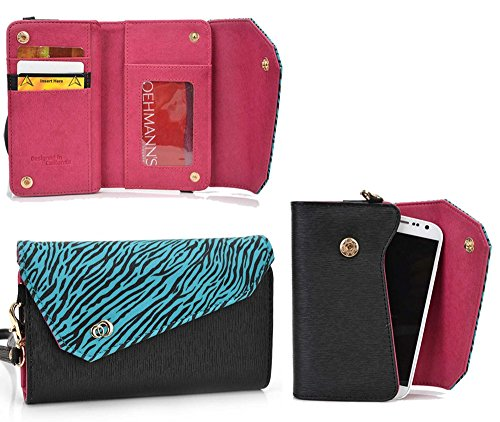 Kroo Link Wallet in Black Zebra Blend Universal fit for Samsung Galaxy S5, S5 Mini, S5 Plus Octa-Core, S4 Mini, S3 S2 A3 A5 E5 Case (Samsung Galaxy S5 Mini Octa Core compare prices)