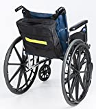 "Secure Wheelchair Backpack Bag With Top, Front, Side Pockets & Safety Reflector Strip, Black - Waterproof Nylon Material - One Year Warranty (13""x12.5""x3"")"