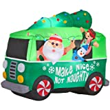 Gemmy Inflatable Airblown Santa in Hippie Mobile Outdoor Christmas Decoration with Incandescent White Lights