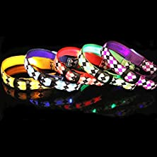 buy Adjustable Colorful Diamond Pattern Pet Led Nylon Night Safety Collar