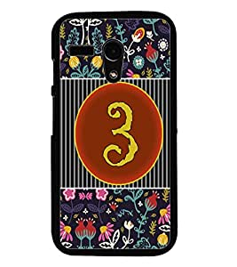 PrintDhaba Numerology Number 3 D-3089 Back Case Cover for MOTOROLA MOTO G (Multi-Coloured)