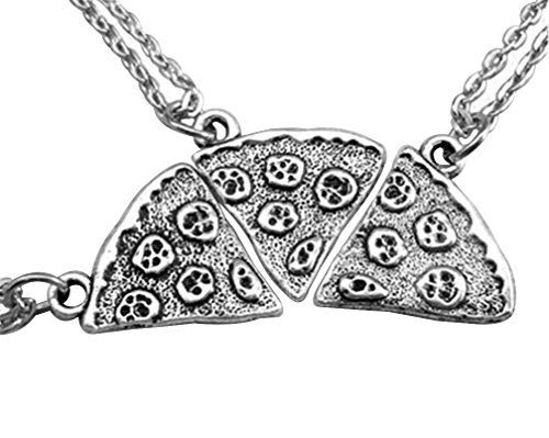 MJartoria Antique Silver Color Pizza Slice Friendship Necklace Set of 3